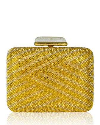 Large Slim Rectangle Crystal Clutch Bag, Champagne/Aurum by Judith Leiber Couture, $4195