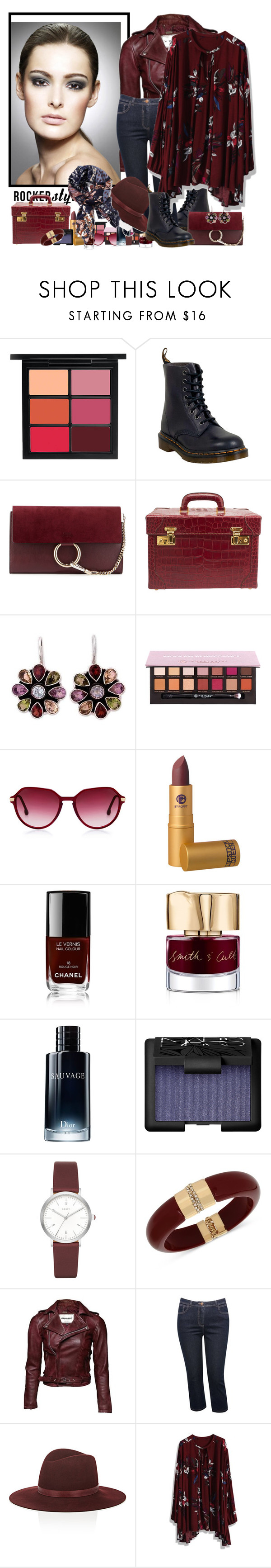 """rocker style..."" by zanet ❤ liked on Polyvore featuring MAC Cosmetics, Dr. Martens, Chloé, Gucci, NOVICA, Anastasia Beverly Hills, Chanel, Smith & Cult, Christian Dior and NARS Cosmetics"