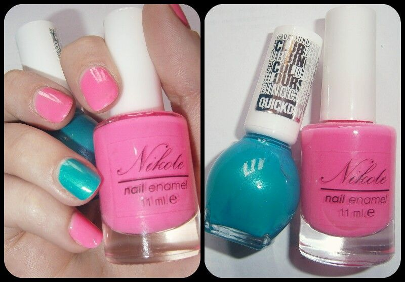 Bright pink&turquoise nails