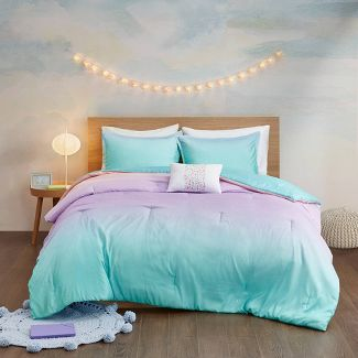 Blue Casa Ombre Ruched Bed in A Bag Set Queen