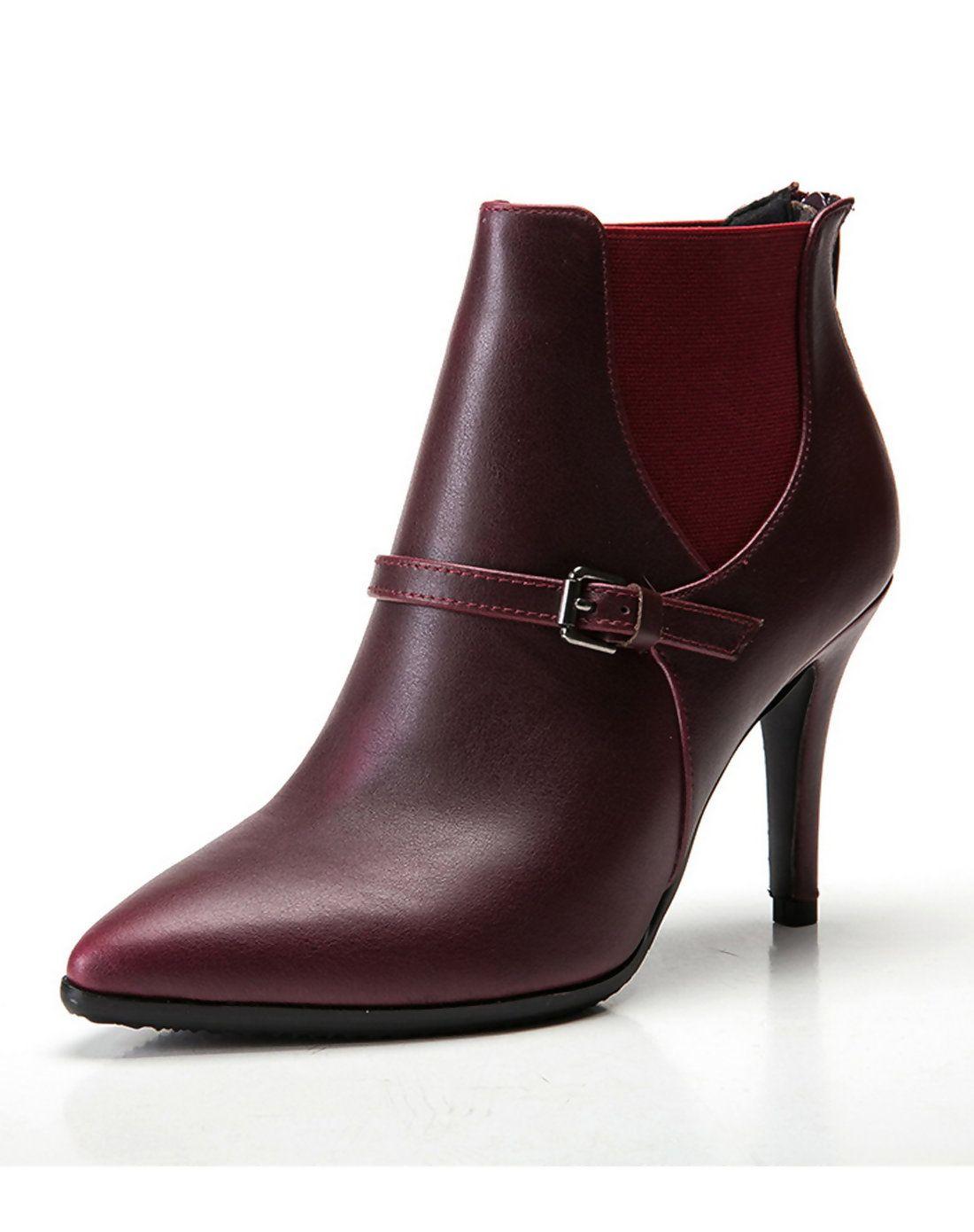 AdoreWe VIPme Boots VICONE Wine Red Belt Buckle Elastica High