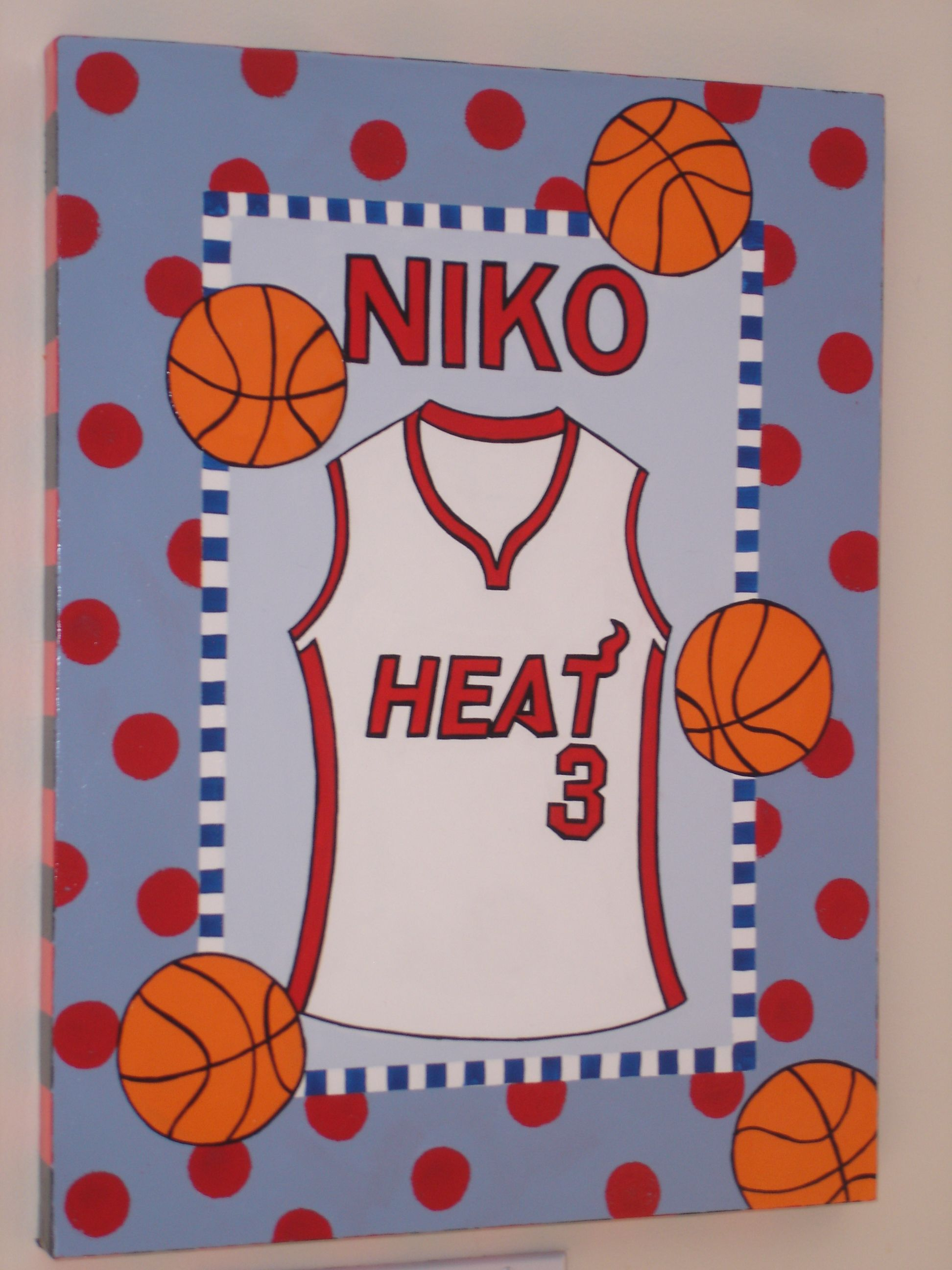Hand Painted Basketball Wall Art Boys Room Miami Heat Dwayne