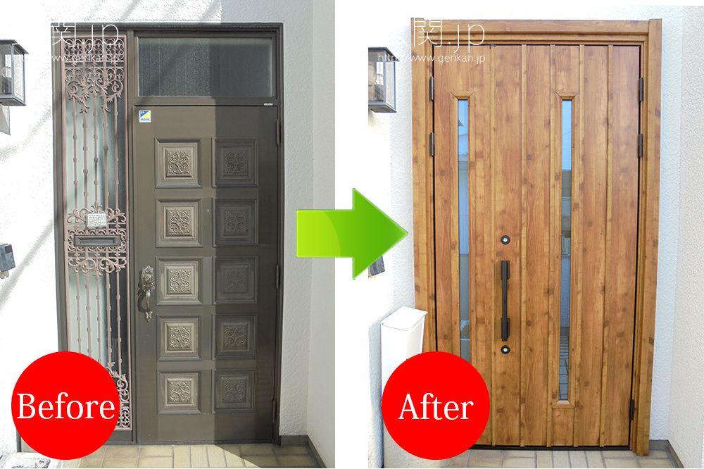 玄関カバー工法による交換の事例 三協アルミ 玄関 リフォーム