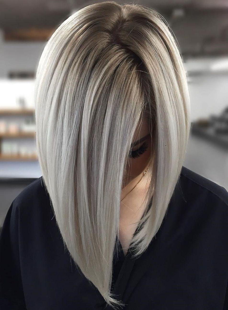 Sleek And Glossy Blonde Balayage Bob Medium Length Hair Styles Hair Styles A Line Haircut