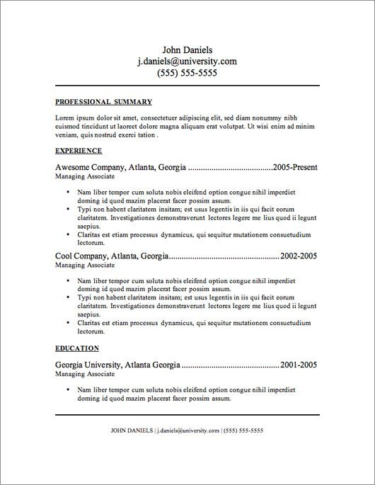 12 Resume Templates for Microsoft Word Free Download Resume - one page summary template