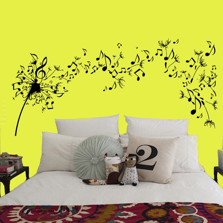 Wall Decals Vinyl Decal Musical Notes Dandelion Flower Art Interior ...