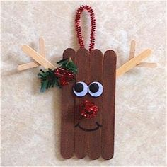 Craftstick Reindeer Ornament #popciclesticks