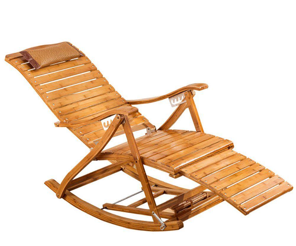 Folding Lounge Chair Bamboo Rocking Chair Adult Lounge Chair Happy Chair Siesta Chair Lounger Chair Home Leis Folding Lounge Chair Rocking Chair Balcony Chairs