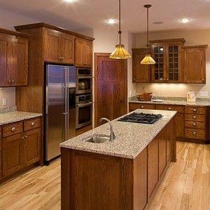 Cherry Wood Kitchen Cabinets Black Granite | Dark oak ...