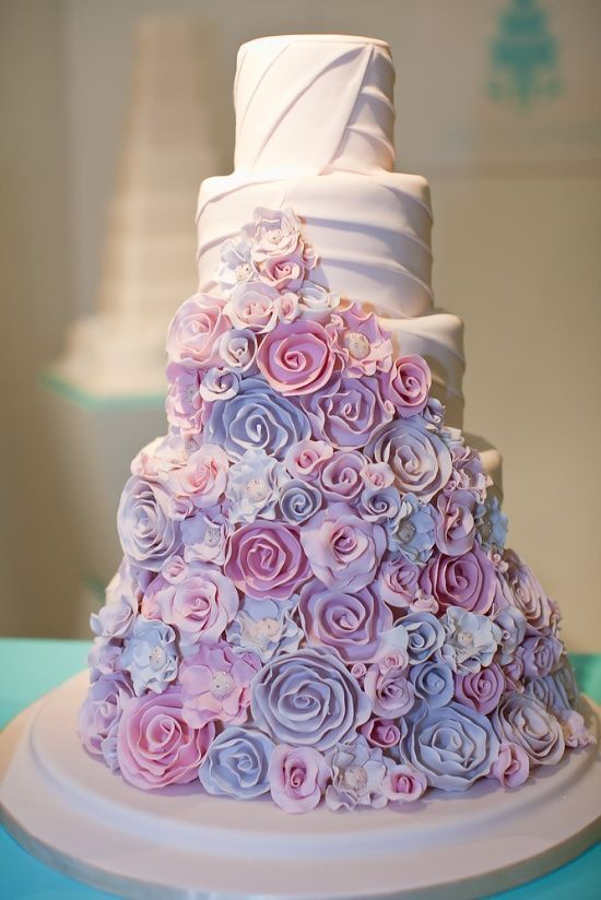 Pink And Purple Rose Cake