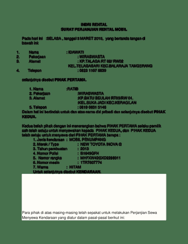 Contoh Surat Perjanjian Sewa : contoh, surat, perjanjian, Contoh, Surat, Perjanjian, Menyewa, Mobil, Surat,, Tanggal