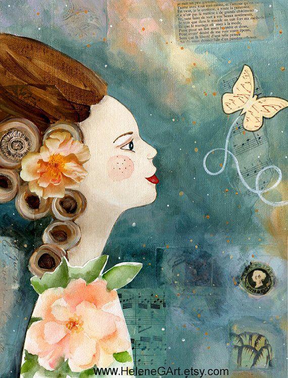Vos beaux sentiments peinture acrylique et collage par HeleneGArt