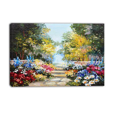 Designart canada canvas art print pt6028 summer forest with flowers canvas art