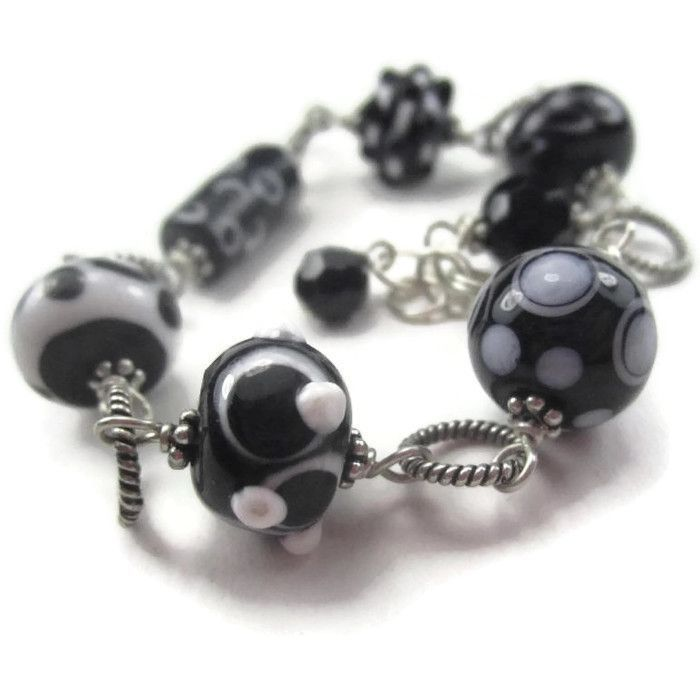 Pierrot Lampwork Bracelet Bali Sterling Silver Link Black and White Glass Bead
