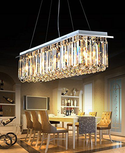 Moooni rectangular crystal chandelier modern hanging dining room moooni rectangular crystal chandelier modern hanging dining room pendant lighting l395 x w10 mozeypictures Choice Image