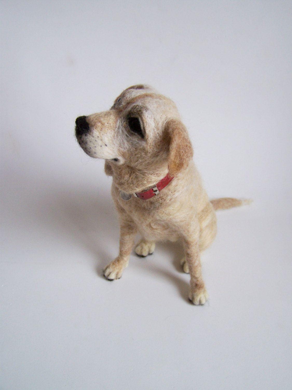 Custom Needle felted big yellow labrador portrait dog  by ArteAnRy, €250.00