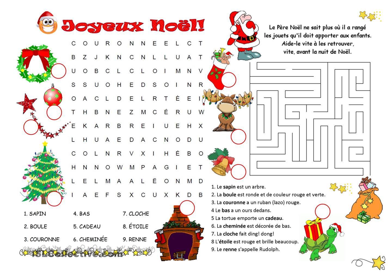 Mots Caches Labyrinthe Noel Jeux Noel Vocabulaire De Noel Noel