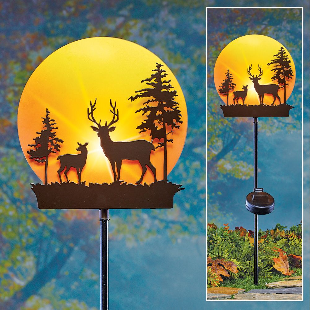 Garden Silhouette Solar Power Lights Ornamental Animal LED Lights Outdoor Garden