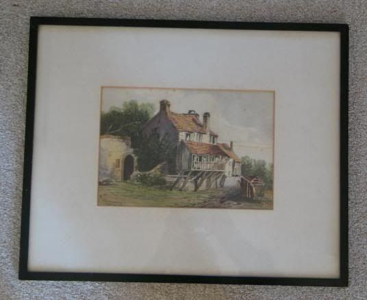 Victorian Watercolour Painting of a Country Cottage - Signed ARMSTRONG & Dated 1872 (100916-076 / 10-10110-RC/EB)