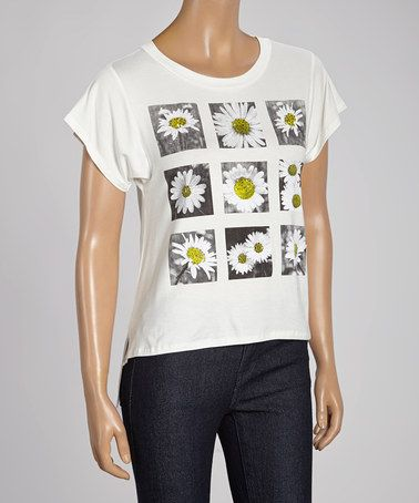 Loving this Ivory Daisy Tee on #zulily! #zulilyfinds