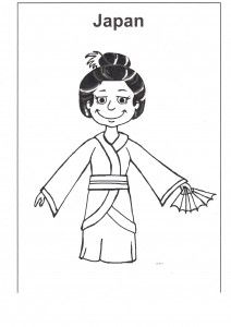 free multicultural resources: Japan colouring page