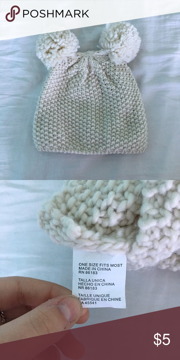 Pom Pom hat Super cute beanie!!! So much fun. Cream knit hat with two Pom poms, one on each side, they look like ears!! Perfect for winter and fall. Will fit anyone's head, it's fairly stretchy. (Love, fashion, cute, kawaii, adorable, animal, bear, tumblr) PacSun Accessories Hats