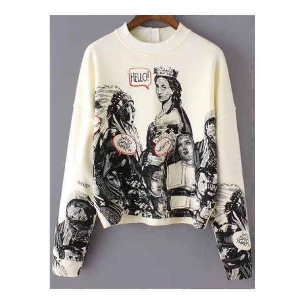 SheIn(sheinside) Beige Long Sleeve Statue Patterns Print Gothic (€22) ❤ liked on Polyvore featuring tops, beige, beige top, sweater pullover, long sleeve pullover, print pullover and gothic tops