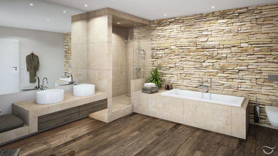 Im Badezimmer natürliche materialien wie holz und natursteine sowie auch warme