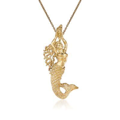 14kt yellow gold mermaid pendant necklace alt image 1 mermaid 14kt yellow gold mermaid pendant necklace alt image 1 aloadofball Gallery