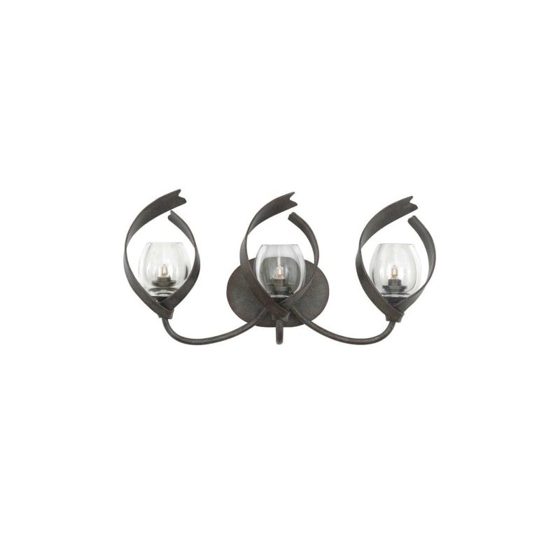 """Photo of Kalco 504223 Solana 3 Light 24 """"wide washbasin lamp with clear glass shades Oxidized copper interior lighting Bathroom lamps Washbasin lamp"""