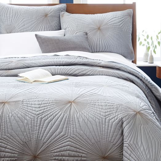 Starburst Coverlet Shams Feather Gray Modern Bed Geometric Bedding Bedroom Inspirations