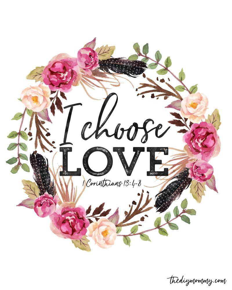 I Choose Love Free Valentine Printable Artwork Computer Desktop