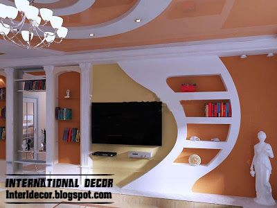 Modern Gypsum Board Wall Interior Designs And Decorative Interior Wall Design House Arch Design Modern Tv Wall Units
