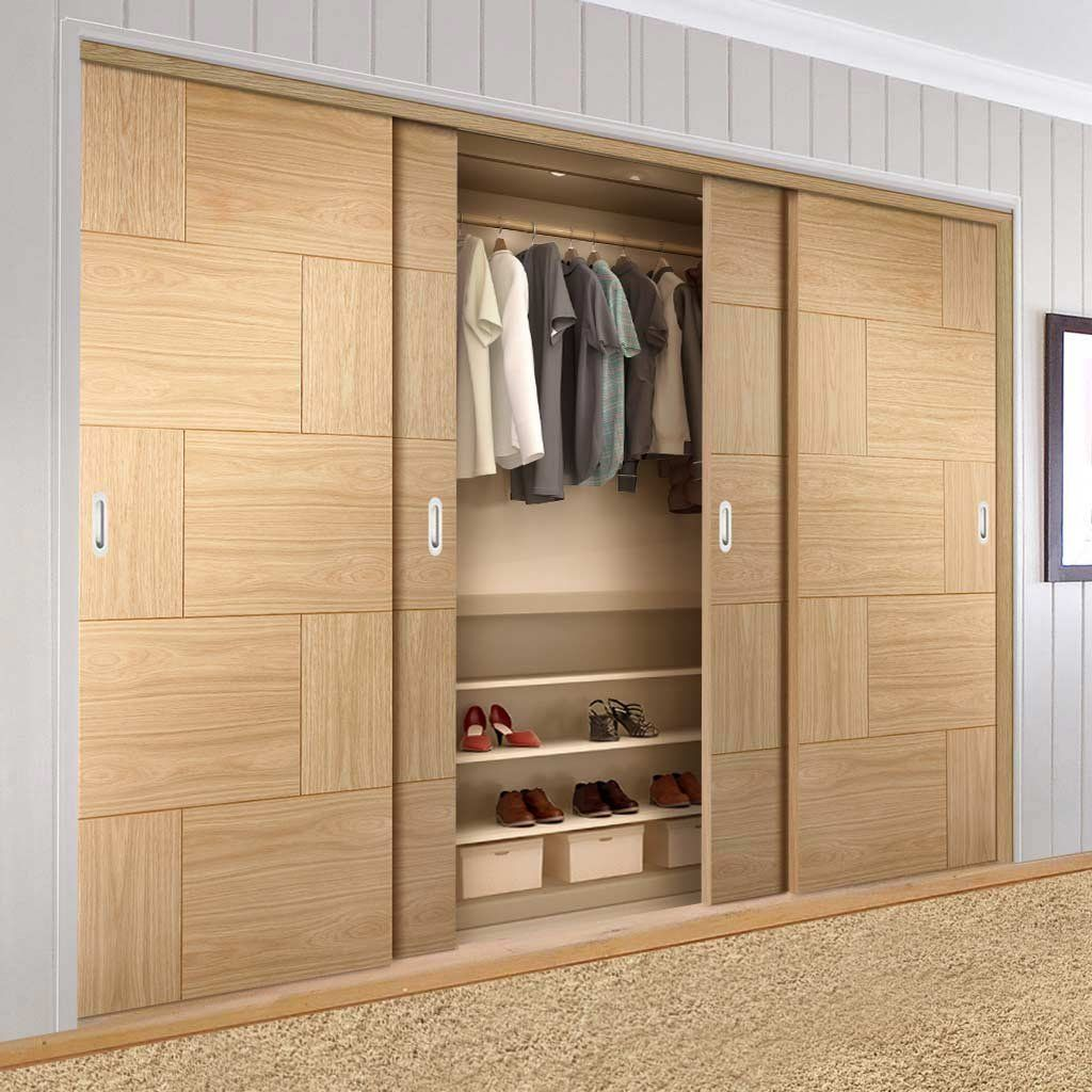 Quatre Coulissantes Armoire Portes Kit Frame Ravenna Oak Flush Porte Prefini In 2020 Wardrobe Door Designs Wardrobe Design Bedroom Wardrobe Doors