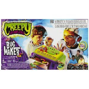 Creepy Crawler Bug Maker by Jakks. $29.12. Includes bug maker, 3 detailing tips, 3 bottles. Plastic goop compound, 1 goop detailing pen,. 1 Spatula, 1 cooling tray, 1 pick, 2 molds. Creepy CrawlersTM Bug Maker Oven: They ooze in, but crawl out! The classic is back! Create Bugs with your Bugmaker Oven. Enter the laboratory and craft a new crew of Creepy Crawlers. Pick the pattern of every inch of every inchworm and color each scissoring claw of every scorpion.  Scorch the shade...