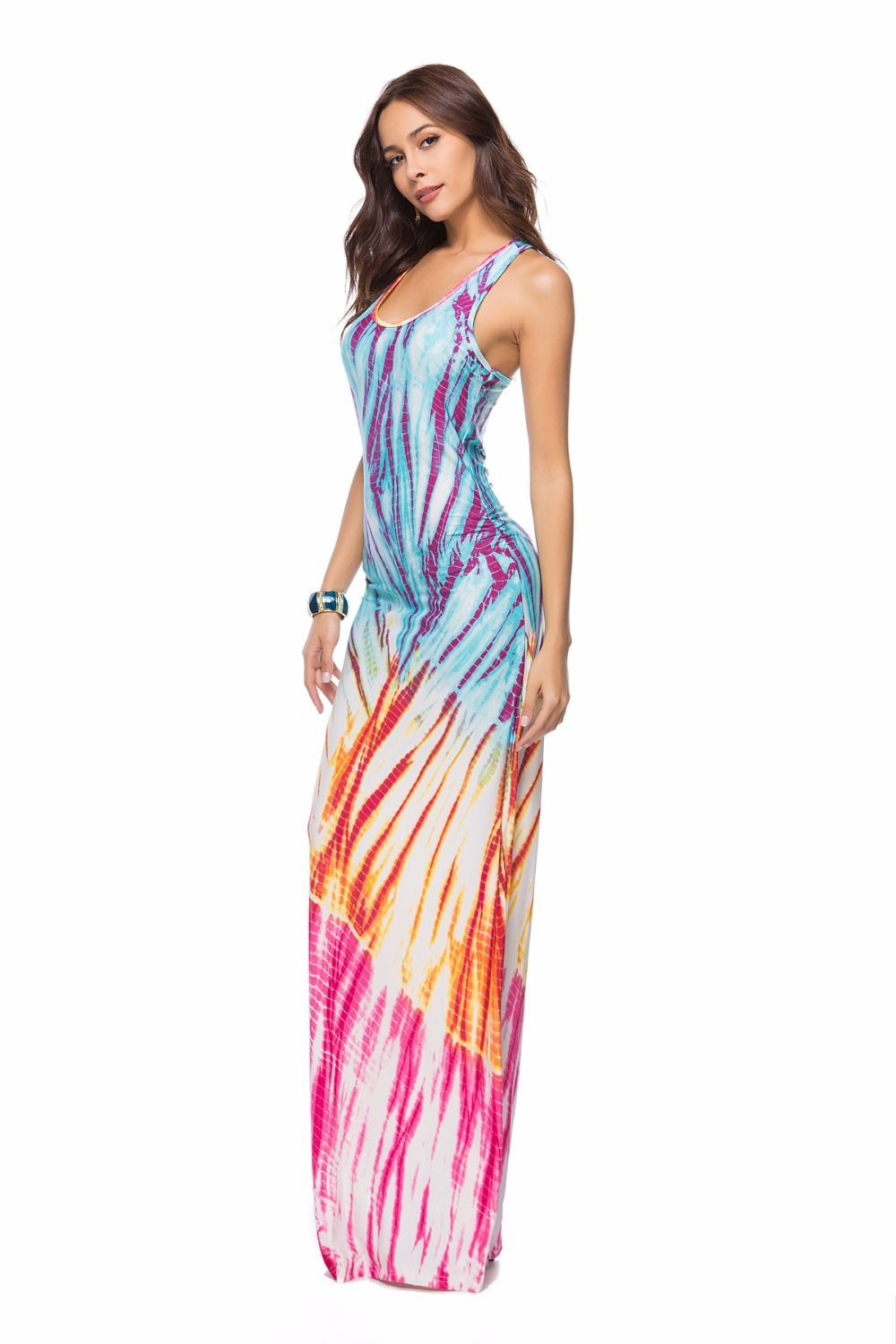 b4d2eb840a0 Plus Size Dresses For women 4xl 5xl Sexy Colourful Sleeveless Casual Long  tank Dress Womens Clothing