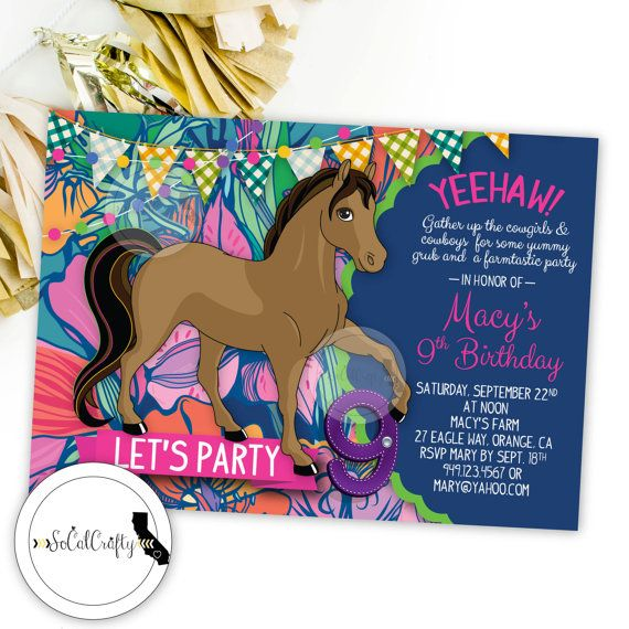 cowgirl theme birthday party invitation featuring the cutest horse against a bright neon background of flowers - Horse Party Invitations