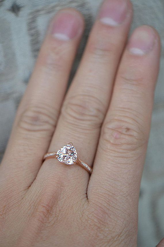 Heart Shaped 8mm Morganite Diamonds Claw Prongs 14K by 4YOURSELF