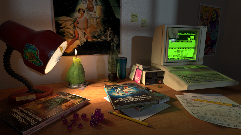80s Nerd Desk Still Life Art Print By Willowpaquette X Small In 2020 80s Nerd Dungeons And Dragons Art Still Life Art