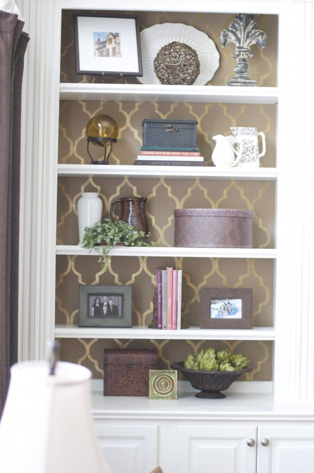 stencil painted bookshelf