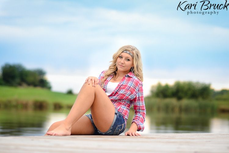 High school senior girl pictures country nature dock water pond photo shoot session ideas kari - Photography ideas for girl ...