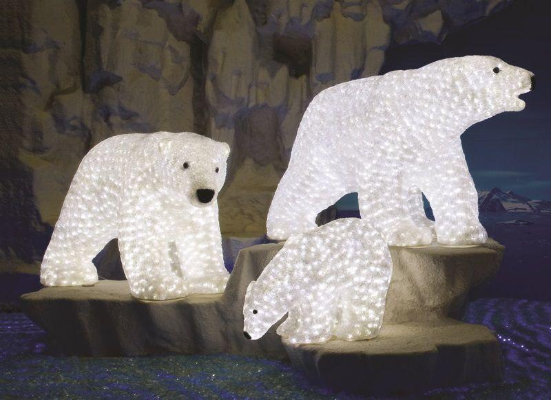 Acrylic Polar Bear Family With 5mm Lights Lit Internally Polar Bear Christmas Outdoor Christmas Decorations Bear Statue