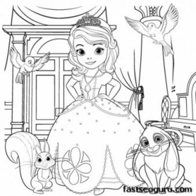 Free Printable Princess Sofia Coloring In Sheet For Girls