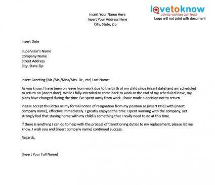 Resignation While On Maternity Leave resignation letter Pinterest - sample pregnancy resignation letters