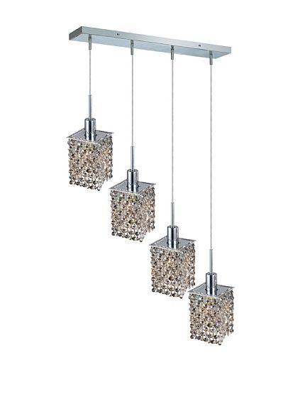 4-Light Square Pendant Lamp, Golden Teak