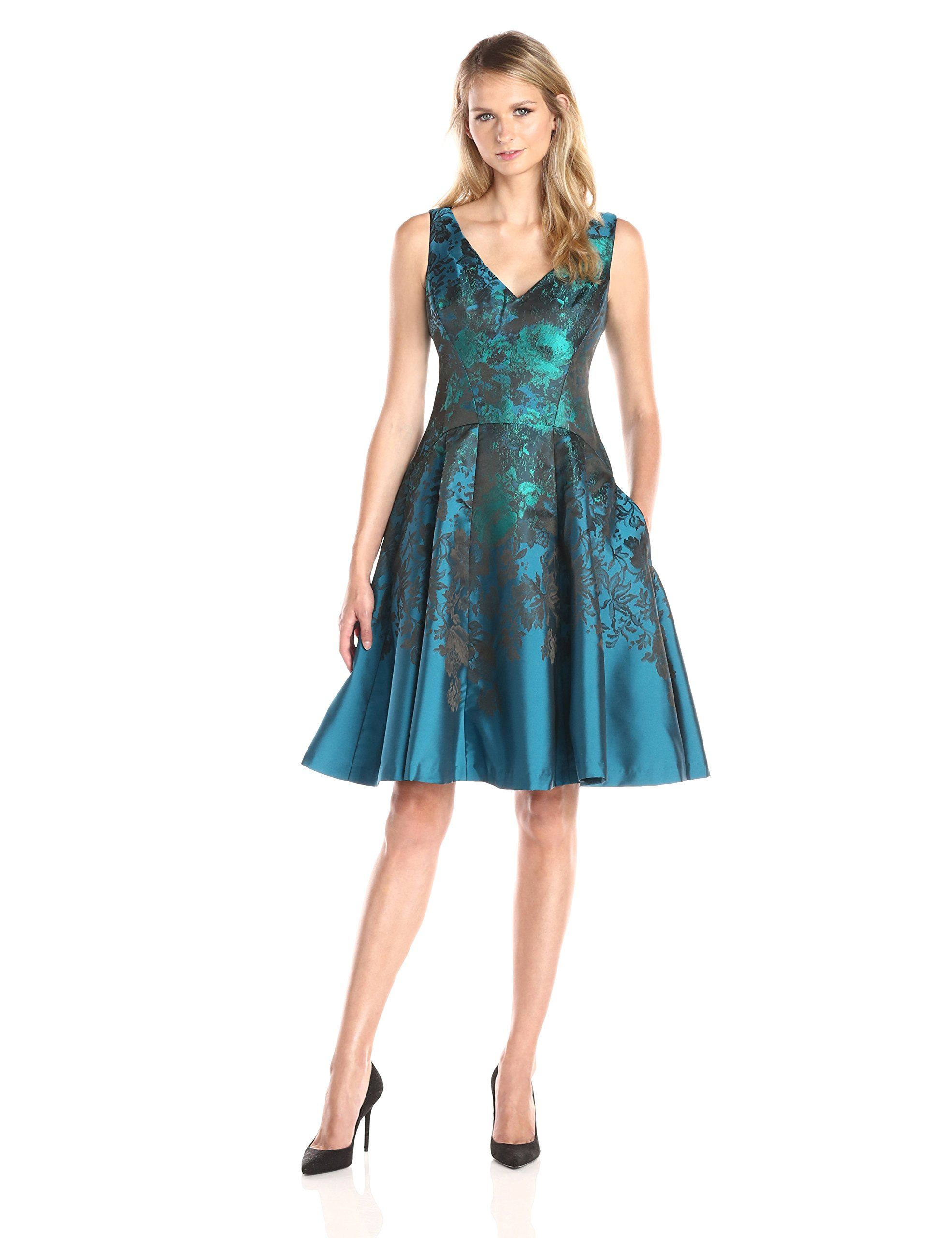 26b29a1096f96 Maggy London Women's Teal Flower Jacquard Fit and Flare Party Dress ...