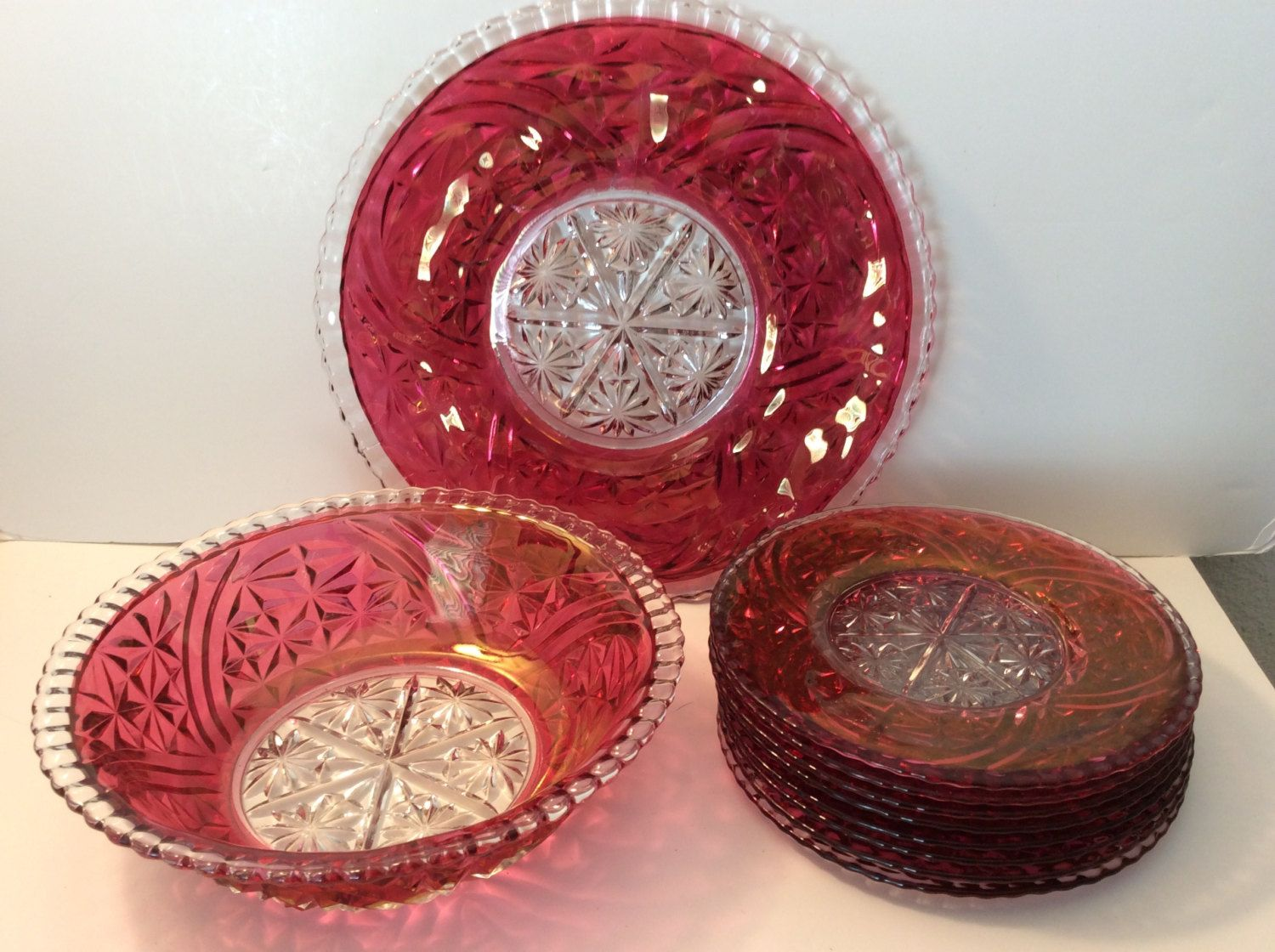 Red glass punch bowl-large platter-8 small serving red