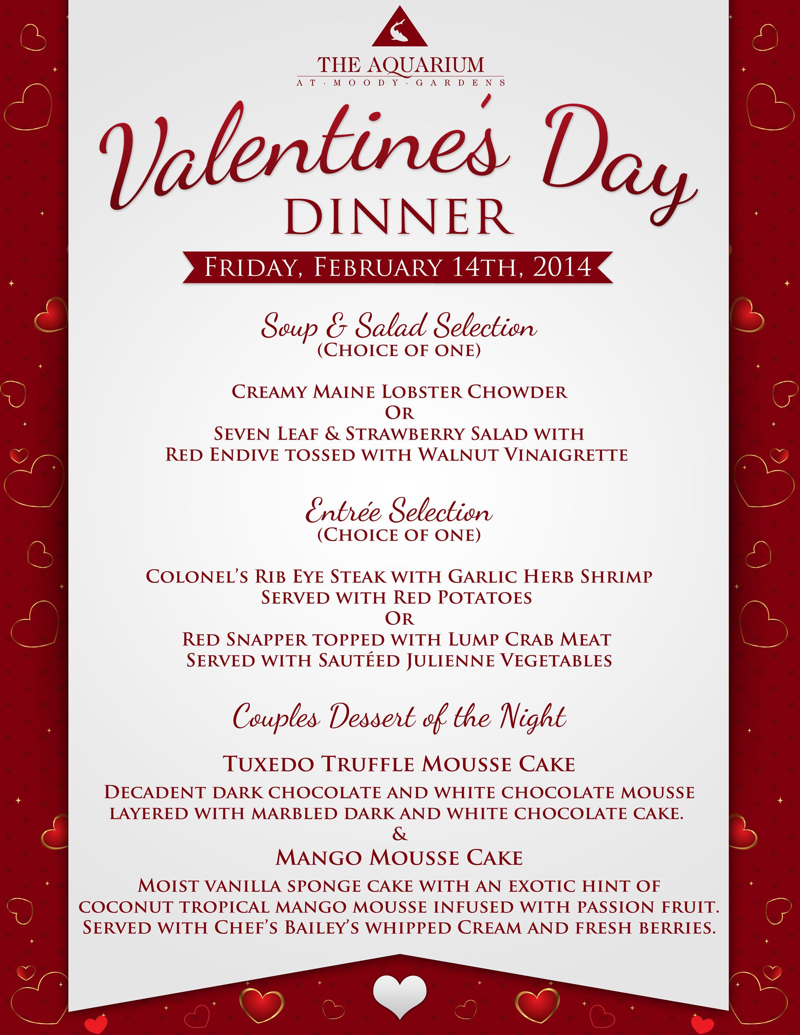 Valentines Day Dinner Menu Template Valentines