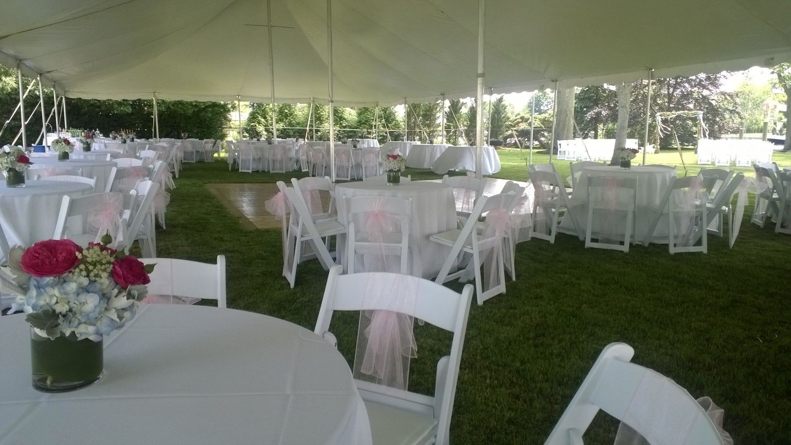 This 40 X 100 High Peak Rope And Pole Tent Was For A Cocktail Wedding Reception For 200 Guests Event Tent Cocktail Wedding Reception Wedding Rentals
