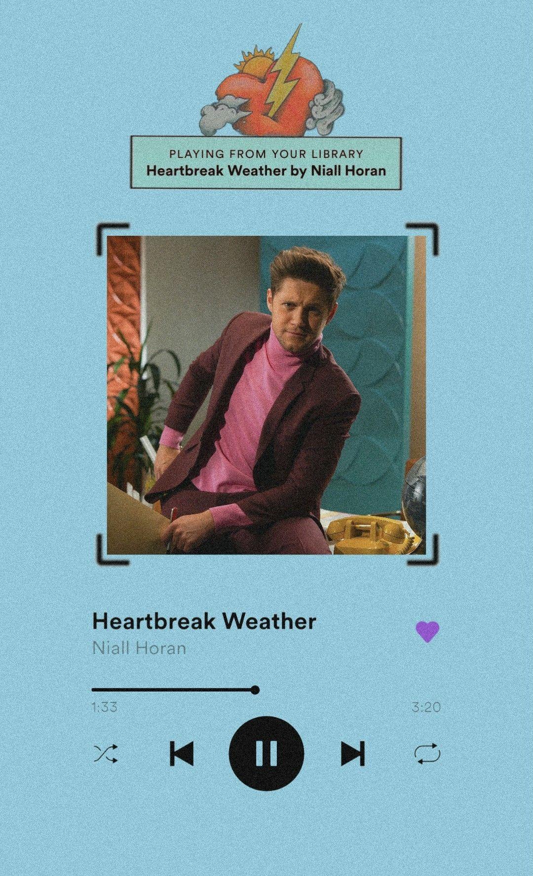 Niall Horan Heartbreak Weather Player Lockscreen In 2020 Niall Horan Lyrics Song Lyrics Wallpaper One Direction Songs